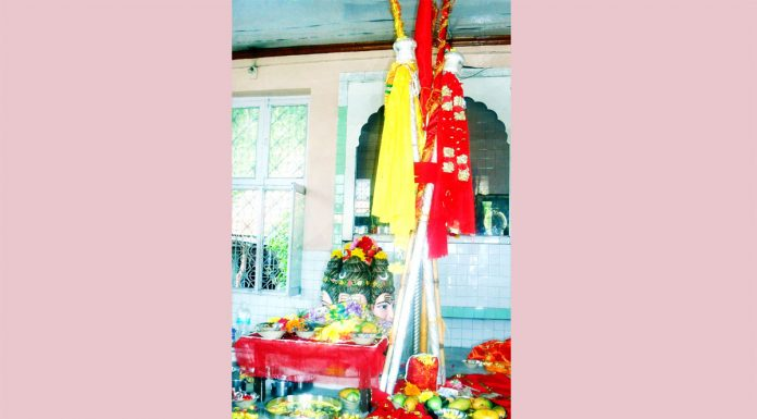 Chhari-Mubarak, the silver mace of Lord Shiva, kept at Shri Amareshwar Temple Dashnami Akhara in Srinagar. (UNI)