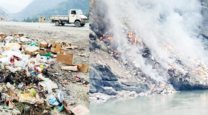 Municipal solid waste dumped along NH and being burnt on the bank of River Chenab by Municipal Committee Ramban.