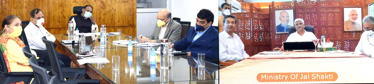 Union Minister Jal Shakti Gajendra Singh and Lt Governor Girist Chandra Murmu reviewing implementation of Jal Jeevan Mission in J&K through video conference.