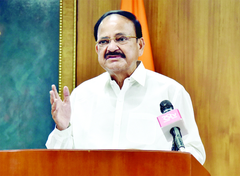 Vice President M Venkaiah Naidu delivering address virtually after inaugurating the online webinar 'Knowledge Creation: Mother Tongue', in New Delhi on Wednesday. (UNI)