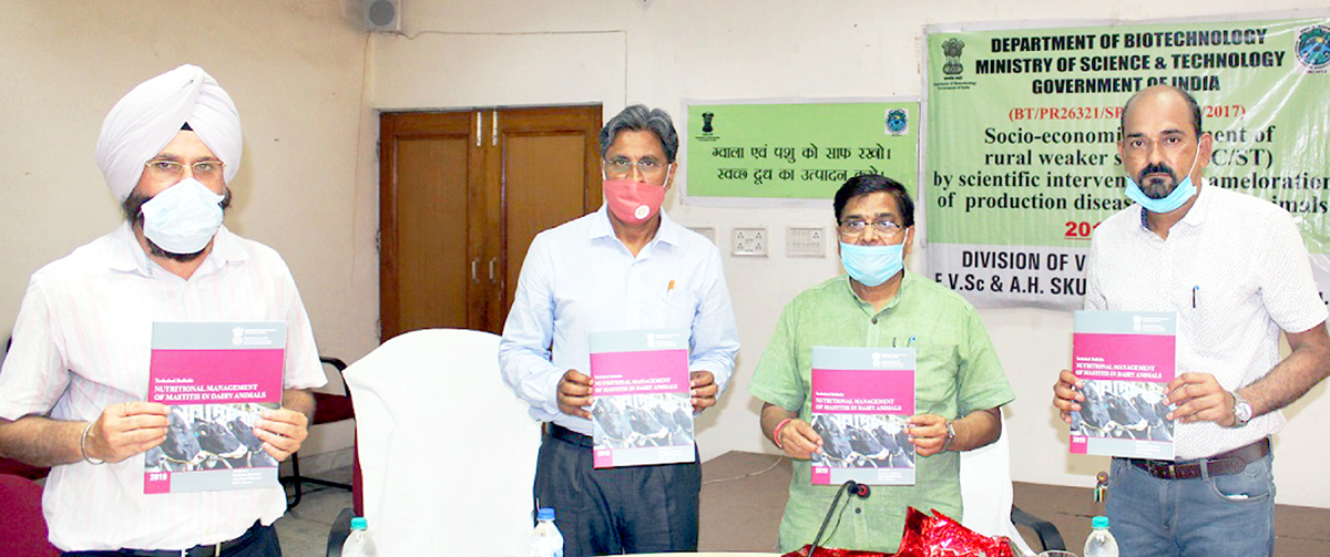 VC SKUAST Jammu, J P Sharma and other officers releasing technical bulletin on 'Nutritional management of mastitis in dairy animals' on Friday.
