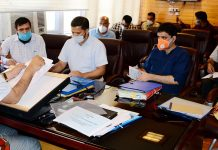 Principal Secretary APD, Navin Kumar Choudhary chairing a meeting on Friday.