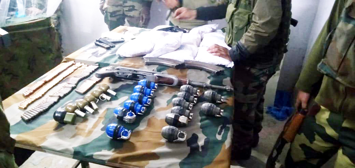 Arms and ammunition recovered in Kupwara.