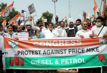 Cong protesting against Modi Govt in Jammu on Wednesday. — Excelsior/Rakesh