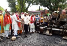 MP, Jugal Kishore Sharma kick starting upgradation of Kienk Jagir-Gharota road on Wednesday.
