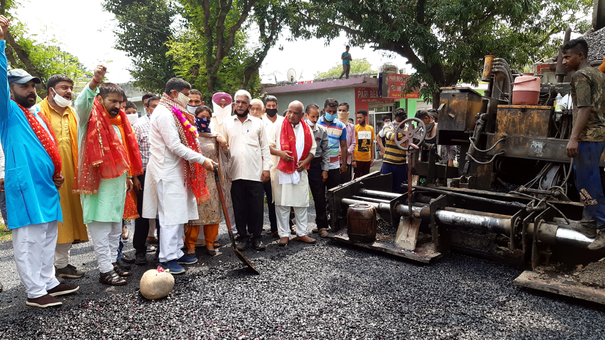 MP, Jugal Kishore Sharma kick starting upgradation of Kienk Jagir-Gharota road on Wednesday.