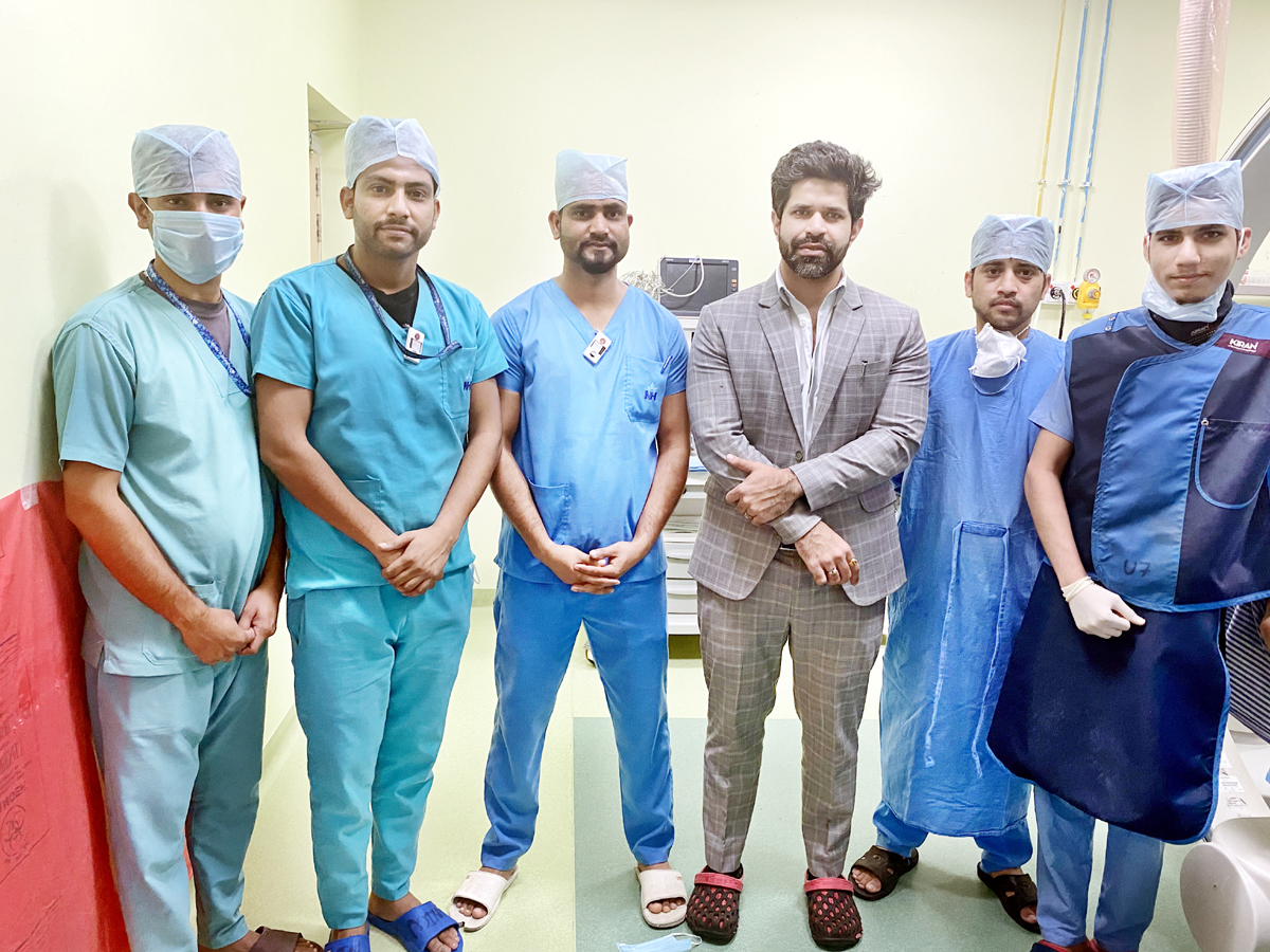 Team of doctors of Narayana Hospital posing for a group photograph after performing complex surgery (IVCP) on Wednesday.
