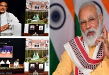 Prime Minister, Narendra Modi addressing at the foundation stone laying ceremony for Water Supply project in Manipur, through video conference, in New Delhi on Thursday.