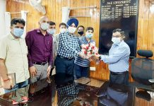 Commissioner Secretary, GAD being welcomed by officials on Wednesday.