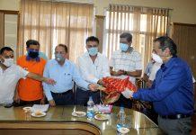 Katra hoteliers felicitating Advisor Baseer Khan.