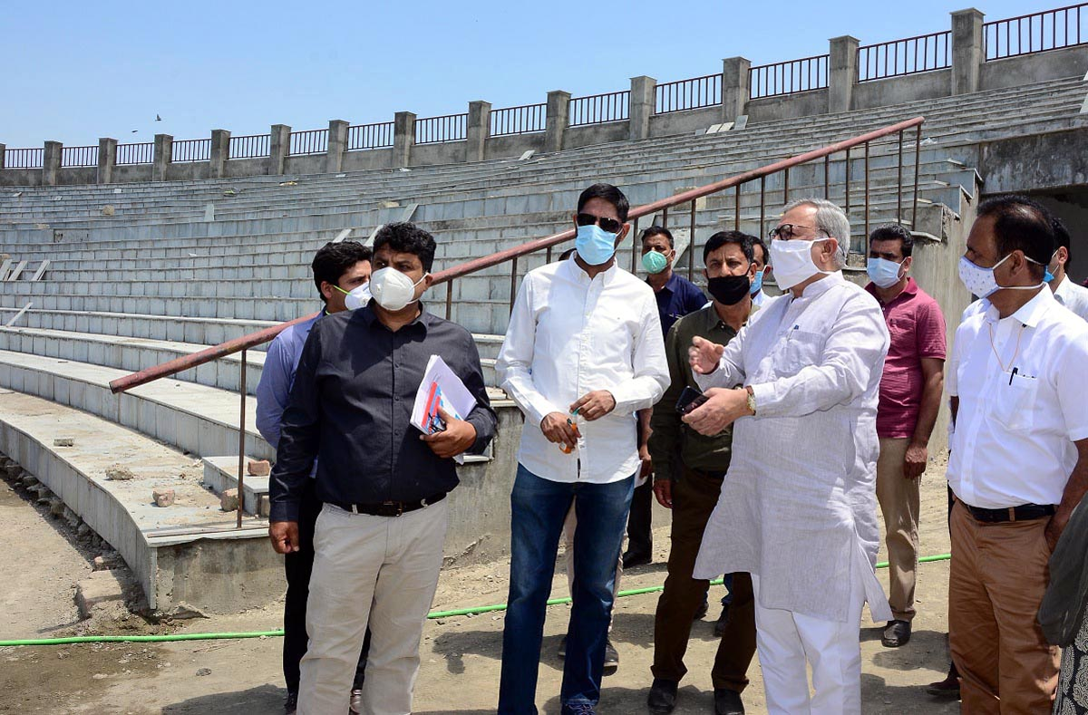 Advisor to Lieutenant Governor Farooq Khan taking stock of ongoing works at Bakshi Stadium in Srinagar.