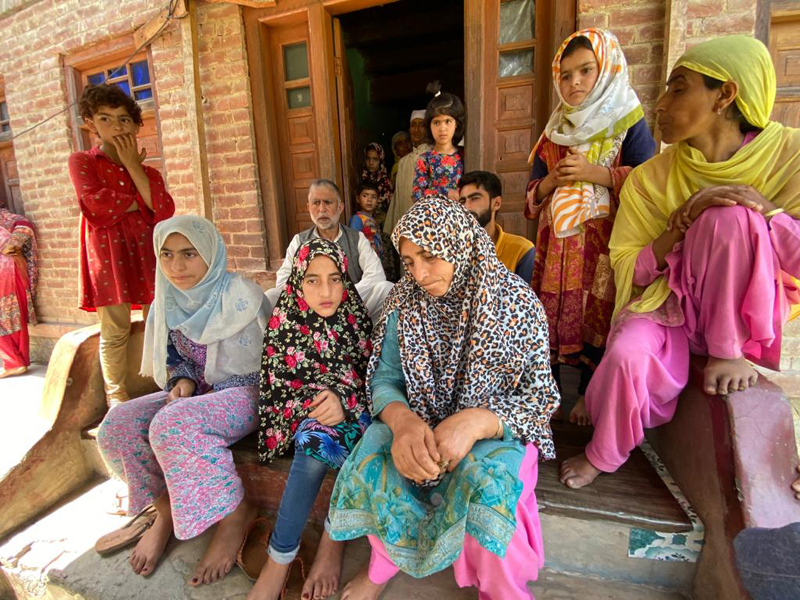 Family members of the BJP leader after his kidnapping.