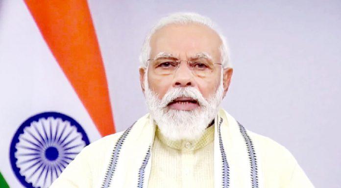 Prime Minister Narendra Modi addressing the nation in New Delhi on Tuesday. (UNI)