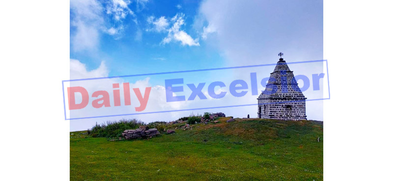 Panoramic view of Raja Sankhpal Devta temple at Ladhodhar in Ramban district. — Excelsior/Shubam Anthal