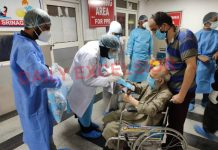 A 95-year old man being discharged from JLNM Hospital after testing negative for COVID-19 on Wednesday. —Excelsior/Shakeel
