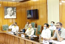 Central Ministers and MHA officials reviewing J&K situation through video conferencing in New Delhi on Wednesday.