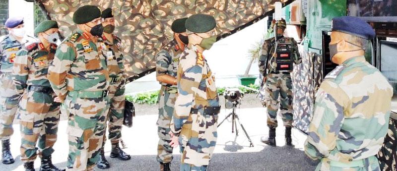Army chief Gen Manoj Mukund Naravane during visit to a forward area of Jammu on Monday.