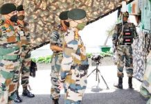 Army chief Gen Manoj Mukund Naravane during visit to a forward area of Jammu on Monday.