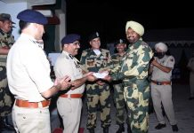 DGP Dilbag Singh rewarding the BSF officer who shot down Pak Hexacopter along International Border in Hiranagar sector.