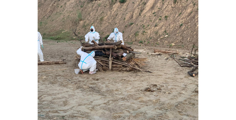 Funeral pyre being prepared for COVID victim at Purmandal in Samba district on Saturday.
