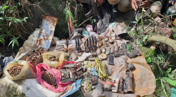 Cache of arms and ammunition recovered from a hideout in Rajouri district on Saturday. —Excelsior/Gafoor Bhat
