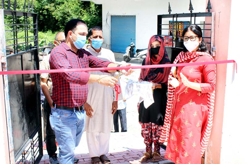 BDC chairman, Ashok Singh Thakur inaugurating newly constructed boundary wall of the Government Middle School, Bakkal in Reasi.