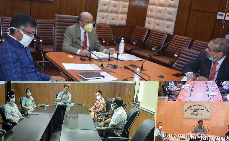 Chief Secretary, B V R Subrahmanyam chairing a meeting on Monday.