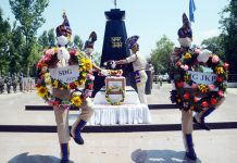 Wreath laying ceremony of CRPF jawan. — Excelsior/Shakeel
