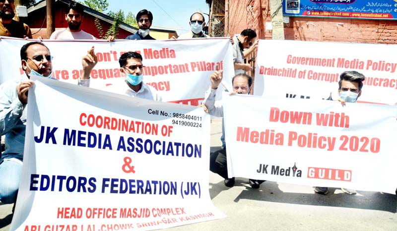 Journalists protesting over new Media Policy in Srinagar. -Excelsior/Shakeel
