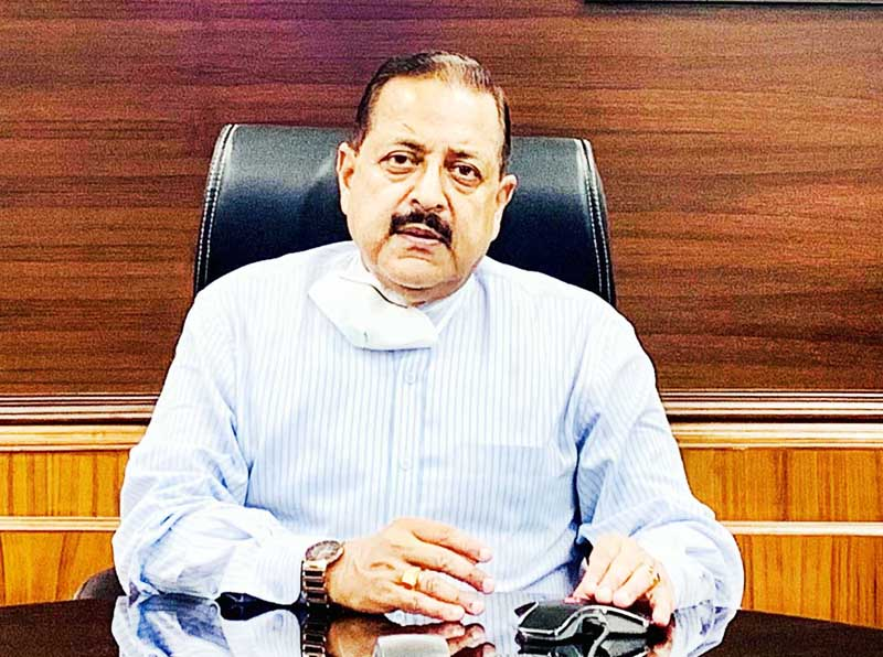 Union Minister Dr Jitendra Singh briefing about the activities of ISRO, during the lockdown period, at New Delhi  on Tuesday.