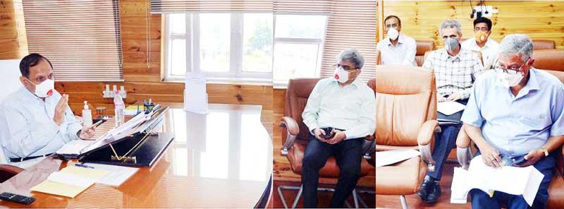 Advisor R R Bhatnagar chairing a meeting on Tuesday.