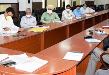 Divisional Commissioner, Sanjeev Verma reviewing development works at a meeting in Jammu on Thursday.