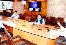 Chief Secretary BVR Subrahmanyam chairing a meeting on Monday.