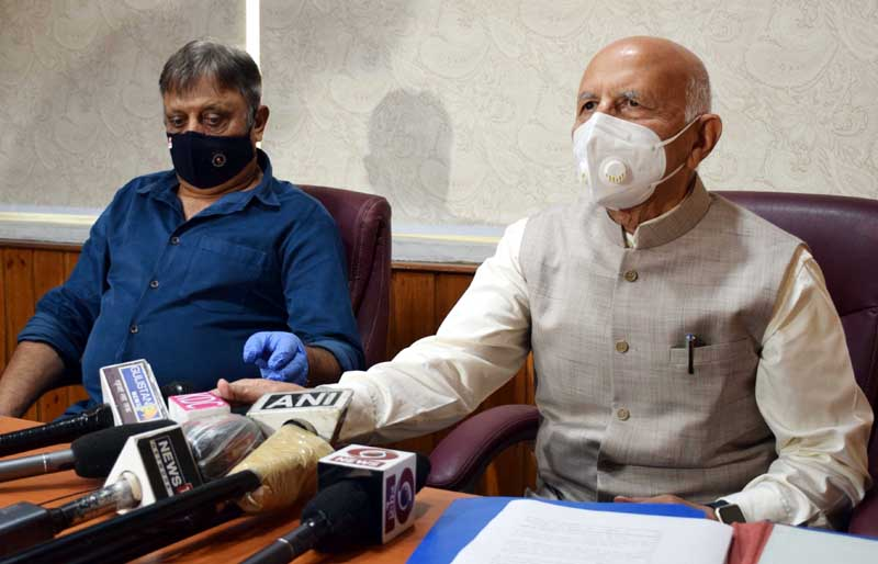 Chairman SEBCC, Justice (Retd) G D Sharma addressing a press conference on Wednesday.