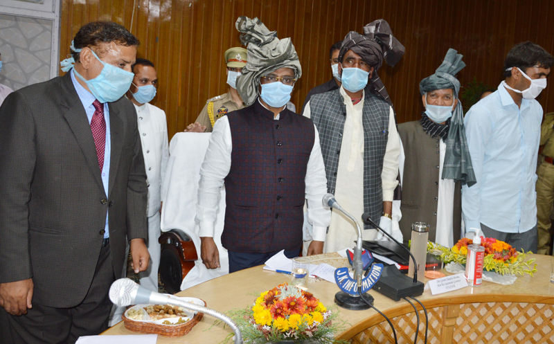 Lt Governor G C Murmu meeting with public delegation at Kulgam on Thursday.