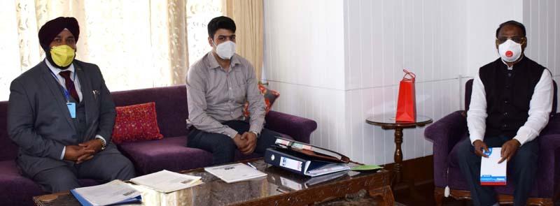 Lieutenant Governor, Girish Chandra Murmu meeting Chairman, PHDCCI Baldev Singh Raina at Raj Bhavan on Monday.