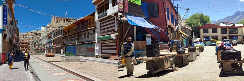 Markets of Leh (left) and Kargil (right) wearing deserted look on Friday due to strike call by student unions. -Excelsior/ Morup Stanzin/ Basharat Ladakhi