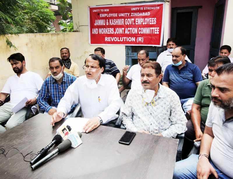 EJAC members addressing joint press conference in Jammu on Tuesday. -Excelsior/ Rakesh