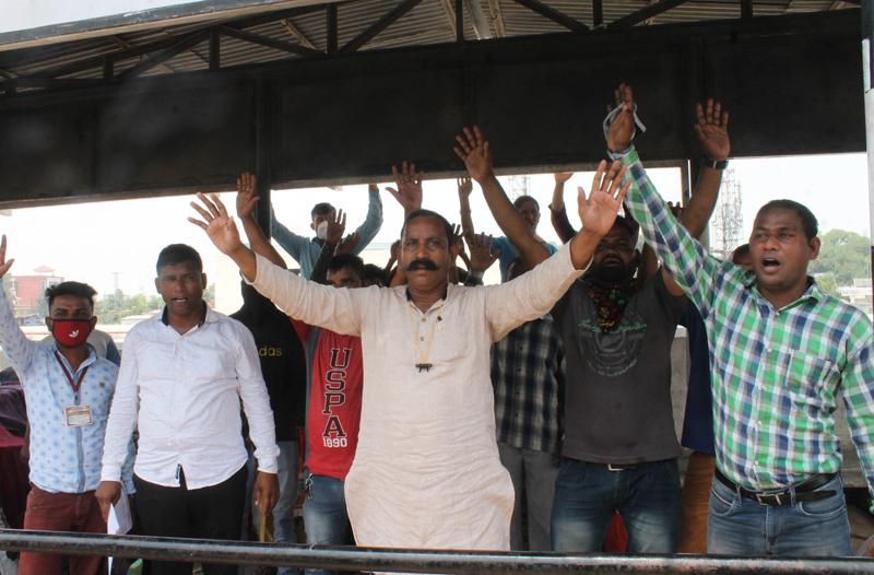 Safai Karamcharis staging protest at JMC office in Jammu.