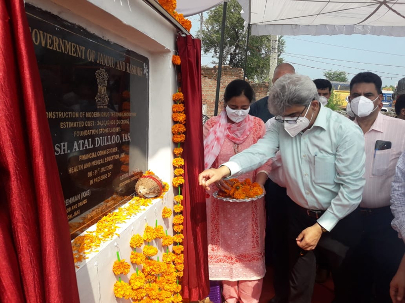 Financial Commissioner, Health & Medical Education, Atal Dulloo laying foundation stone of Modern Drug Testing Laboratory at Lakhanpur in Kathua. -Excelsior/Madan