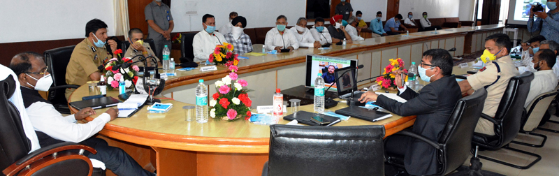 Lt Governor chairing a meeting at Poonch on Saturday.