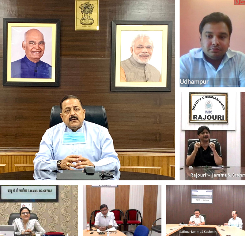 Union Minister Dr Jitendra Singh reviewing the Jammu & Kashmir 'Unlock 2.0' with Deputy Commissioners of Union Territory, on Sunday.