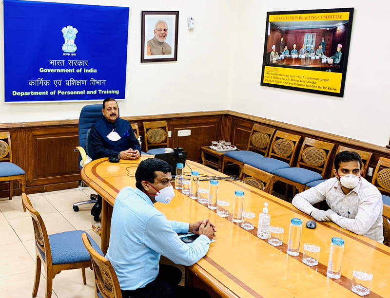 Union Minister Dr Jitendra Singh addressing the inaugural session of the IAS Professional Course Phase-II (2018 Batch) of Lal Bahadur Shastri National Academy of Administration, Mussoorie, through a video conference, on Monday.