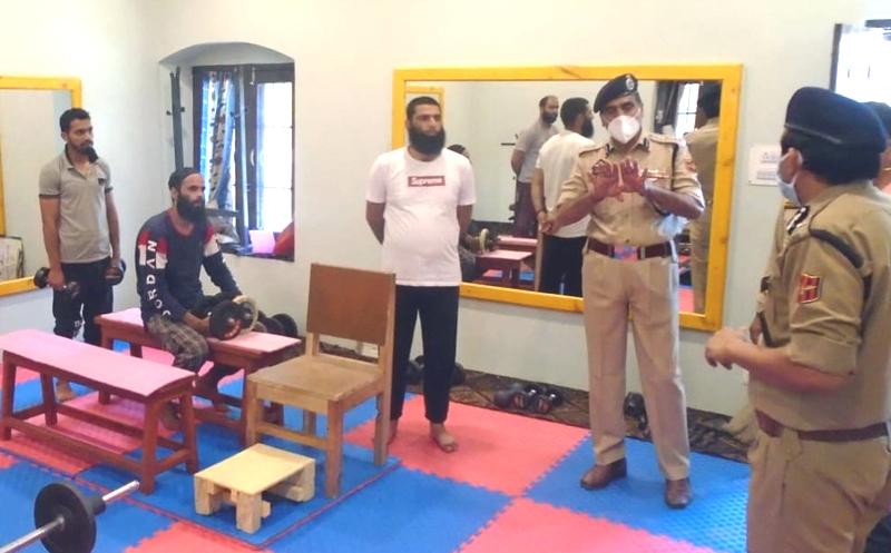 DG Prisons, V K Singh during visit to Central Jail Srinagar on Monday.