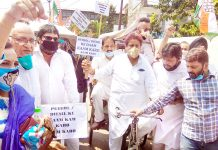 Cong leaders and workers taking out bi-cycle rally in Jammu on Friday. -Excelsior/Rakesh