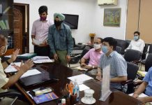FC Revenue Dr Pawan Kotwal chairing a meeting on Tuesday.