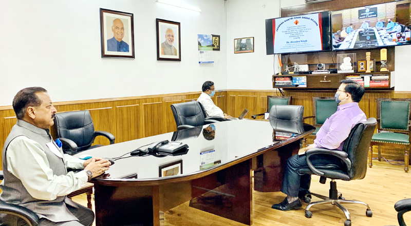 Union Minister Dr Jitendra Singh launching PMGSY road projects of Udhampur-Kathua-Doda Lok Sabha constituency by laying foundation stones online, on Friday.