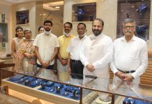 Owner of Phagu Mal Rattan Chand Jain Jewellers posing with senior BJP leader Raman Suri and others in their renovated showroom in Jammu. — Excelsior/Rakesh