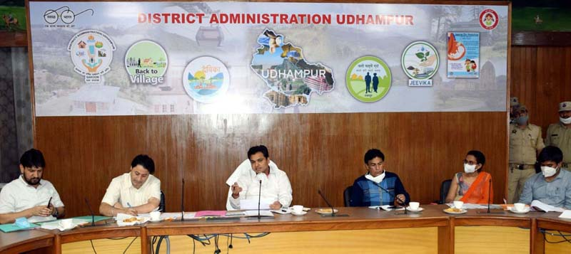 DDC Udhampur Dr Piyush Singla reviewing PMGSY works on Thursday.