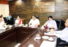 JMC Mayor, Chander Mohan Gupta chairing a meeting on Wednesday.